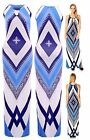 New Womens Ladies Tall Blue Aztec Print Keyhole Front Maxi Dress (Size S/M M/L)