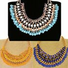 NEW LARGE CHUNKY GOLD CHAIN LIGHT BLUE CRYSTAL BEAD STATEMENT FASHION NECKLACE