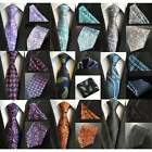 Mens Premium Designer Silk Neck Tie & Hanky Set Wedding Bright Paisley