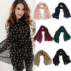 Womens Polka Dot Print Scarf Chiffon Soft Scarves Hijab Long Wrap Shawl Pashmina
