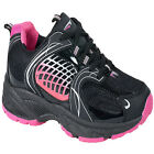 WOMENS BLACK PINK TRAINERS LADIES GIRLS SPORTS GYM JOGGING CASUAL TRAINER 3-8 UK
