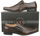 Mens New Brown Slip On Leather Lined Fashion Dress Shoes Size 6 7 8 9 10 11 12