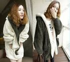 Thick Warm Hooded Fluffy Fleece Faux Fur Coat Poncho Jacket Two-sided Wear green