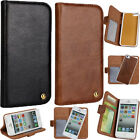 Real Genuine Leather 2in1 ID CARD Wallet Shockproof Magnet Cover Case For iPhone