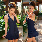 Sexy Lady One Piece Swimsuit Halter Monokini Ruffle Bikini Tankini Swimwear Blue
