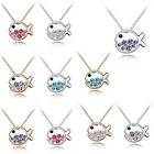 Charming 18K White/Yellow Gold Plated Fish Rhinestone Crystal Pendant Necklace