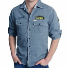 FLY GUY SHIRT MENS ROLL SLEEVE DETAILED CHAMBRAY BLUE SLIM FIT TOP UK L