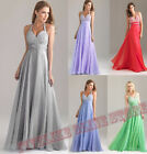 Long chiffon cocktail dress formal bridesmaid party ball evening Halter Size6-26