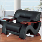 Global Furniture Bonded Leather Lounge Chair with Mahogany Legs