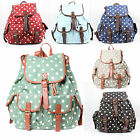 Ladies Canvas Retro Vintage Polka Dot Backpack Rucksack College School Bag