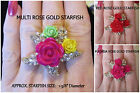 Clear Crystal STARFISH w/ ROSES **YOUR CHOICE** Rose Floral Gold STRETCH Ring