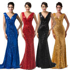 NEW Sequins Deep V Womens Long Wedding Formal Prom Evening Gown Party Long Dress