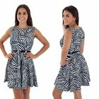 Minikleid Cocktail Party Damen mini Kleid Animal print schwarz weiss neu 33237