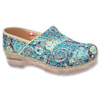 SANITA Womens Vegan Erika Closed Back Clogs Turquoise Printed Fabric 451936-8