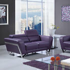 Global Furniture Bonded Leather Loveseat with Functioning Headrest, Angled Arms