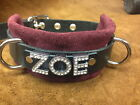 Personalized locking leather dog collar  ZOE HONEY CASSIE choose color/size/name