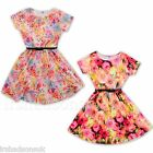 New Girls Skater Dress Floral Belted Party Dresses Age 7 8 9 10 11 12 13 Years