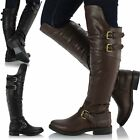 Ladies Womens Flat Over The Knee Thigh High Buckle Trim Riding Biker Boots Shoes