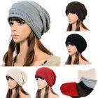 Unisex Simple Winter Plicate Baggy Beanie Knitted Ski Slouch Cap Hat US AB