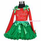 XMAS Red Top Rhinestone Santa Baby Kelly Green Pettiskirt Girl Outfit Set 1-8Y