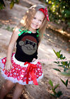 XMAS Rhinestone Santa Claus Black Top Snowflakes Skirt Girl Party Outfit 1-8Y
