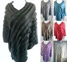 Women SOFT knitted pleated batwing Poncho Cape Pull Over Sweater Top Shawl Wrap