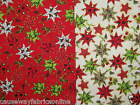 CHRISTMAS STARS 100% LIGHTWEIGHT COTTON NEW FABRIC CRAFT QUILTING CUSHIONS