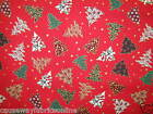 CHRISTMAS TREES 100% LIGHTWEIGHT COTTON NEW FABRIC CRAFT QUILTING CUSHIONS
