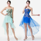 Women Strapless Gauze High-Low Masquerade Ball Evening Prom Cocktail Party Dress