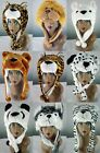 Adult Lady Girls Boys Warm Jungle Animal Hood Kids Faux Fur Hat ASSORTED STYLES