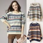 Ladies Round Neck Knitted Pullover Jumper Casual Loose Long Sweater Special Hot