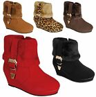 NEW Kids Girls Short Ankle Boots Fur Suede Buckle Strap Low Heel Booties 9 - 4