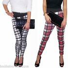 NEW WOMENS QUALITY BLACK RED WHITE TARTAN CHECK HIGH WAISTED LEGGINGS PANTS