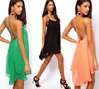 Sexy Women Strap Backless Beach Chiffon Skater Swing Party Cocktail Mini Dress