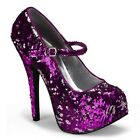 "5 3/4"" HEEL PUMPS MARYJANE PLATFORM HOT PINK SEQUINS PROM FORMAL GOWN BURLESQUE"