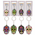 Day Of The Dead Funky Keyring  PVC Keychain Ring Novelty Gift Candy Skull