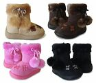 NEW Baby Toddler Flower Butterfly Faux Fur Flat Heel Zip Up Shoe Boots 3 - 10