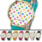 1pc Golden Case Colorful Dots Quartz Analog Wristband Watch Casual Girls Jewelry