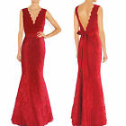 Sexy Red V neckline lace long evening dress prom ball gown Formal Occasion