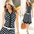 Vintage Office Lady Pinup Polka Dots Cocktail Evening Prom Pencil Business Dress