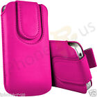 Hot Pink Magnetic PU Leather Pull Tab Flip Case For Various Vodafone Models