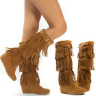 Tan Fringe Stud Strap Buckle Moccasin Med High Heel Hidden Wedge Boots US 5-11