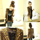 HOT! Sexy Women's Tops Grain Slim Coat Long Sleeve Women's Leopard Blazer Suit