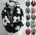 Women Winter Infinity Circle Cable Knit Cowl Neck Long Scarf shawl Reversible