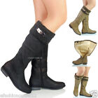 NEW WOMENS LADIES  LOW HEEL MID CALF FULLY LINED WINTER LONG KNEE BOOTS SIZE