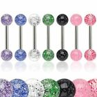 Glitter Ball Tongue Nipple Bar Barbell 14GA (1.6MM ) Sizes From 6MM to 22MM