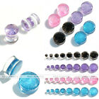 Pair Acrylic 2g-3/4'' Glitter Saddle Double Flared Ear Plugs Tunnels Expander Ga
