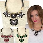 CHUNKY GOLD GREEN/WINE/BLACK BEAD DIAMANTE CORD STATEMENT FASHION NECKLACE