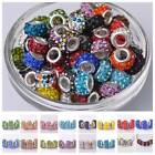 5Pcs New Crystal Rhinestone Silver Plated Charm Loose Spacer Big Hole Beads