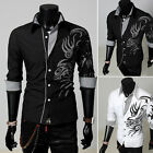 PopMen's Korean Dragon Hot Design Shirt Slim Fit Casual Shirt Black New Arrival